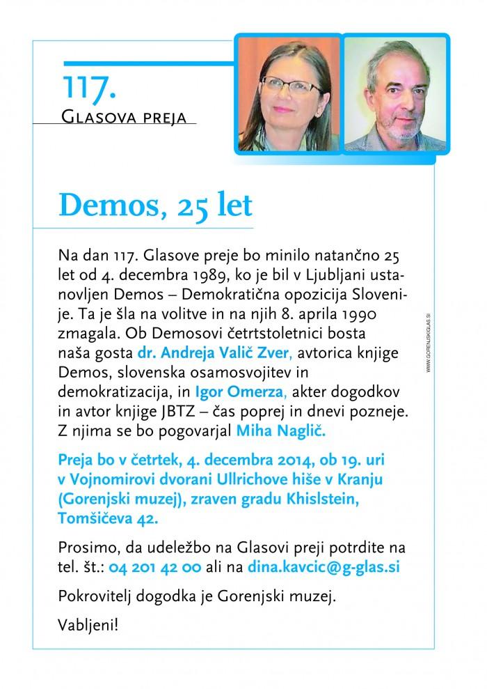 (Slovenski) 117. Glasova preja – Demos, 25 let