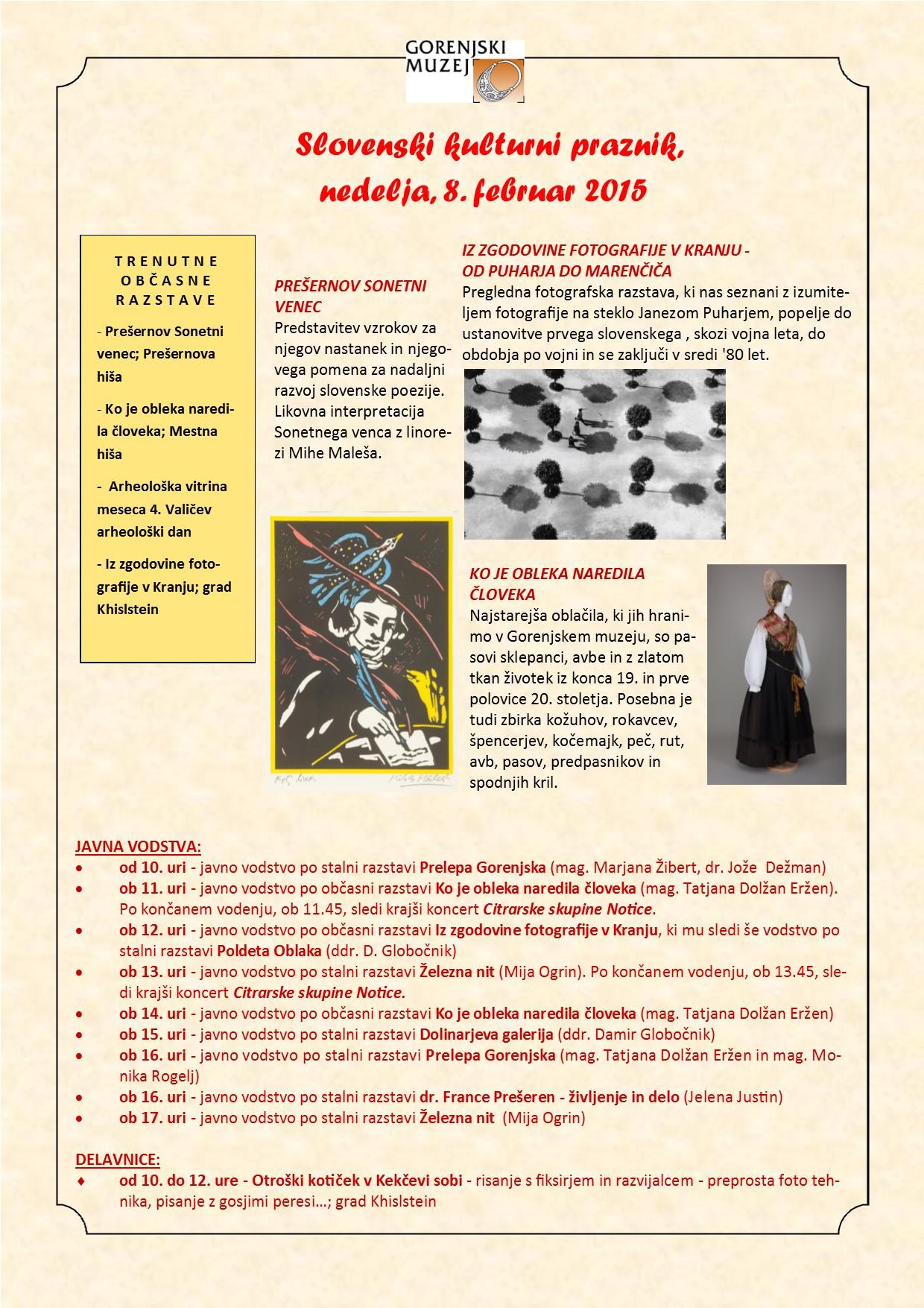 Slovenski kulturni praznik 2015-kustosi