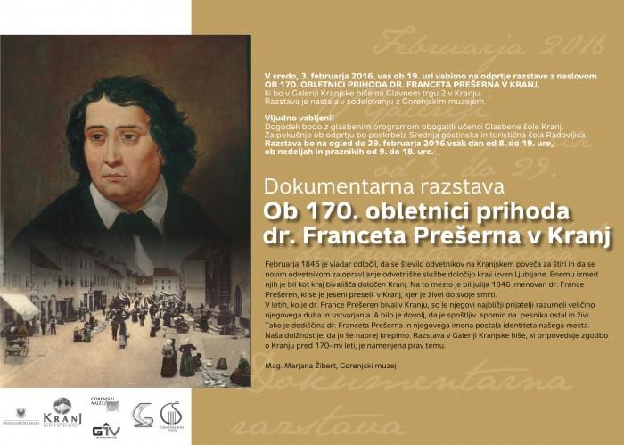 Odprtje razstave 170 let prihoda dr. Franceta Prešerna v Kranja