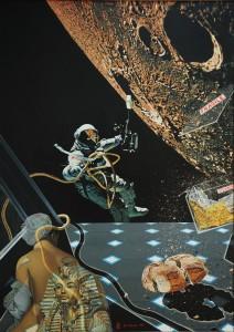 DARKO SLAVEC Iz cikla Človek in vesolje XI ali Sanje velike kopalke IX, olje na platno, 1981, 140 x 100 cm