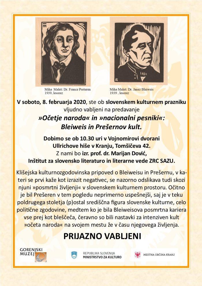 Predavanje »Očetje naroda« in »nacionalni pesniki«: Bleiweis in Prešernov kult
